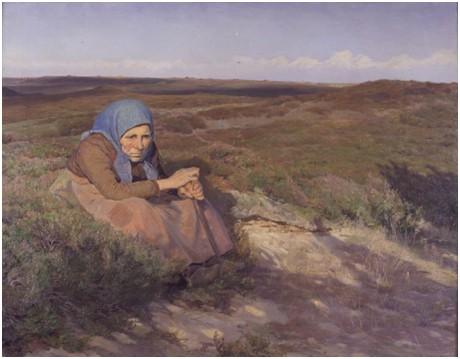 En gammel kone på heden, 1904 Knud Larsen