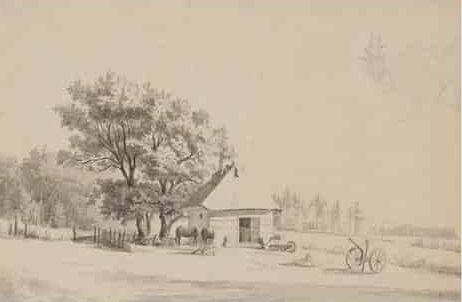 Thorald Brændstrup: Landskab med smedie ca. 1870